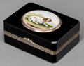 Silver Smalls:Other , An Italian Onyx, Silver, and Micromosaic Pill Box, first half 19thcentury. Marks: (warranty mark), 37M. 0-3/4 h x 1-3/4...