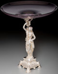 Silver Holloware, British:Holloware, A Victorian Etruscan Revival Silver-Plated Figural Center Bowl,circa 1870. 13-3/4 inches high x 12 inches diameter (34.9 x ...