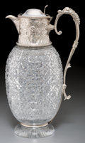 Silver Holloware, British, A Walter & Charles Sissons Victorian Silver and Cut-GlassClaret Jug, Sheffield, circa 1887. Marks: (lion passant),(crown),...