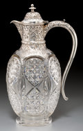Silver Holloware, British:Holloware, An Alexander Clark Manufacturing Co. Victorian Silver and Cut-GlassClaret Jug, Birmingham, 1901. Marks: (lion passant), (an...