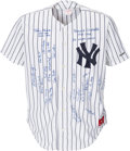 Baseball Collectibles:Uniforms, 1990's New York Yankees Stars Multi-Signed Jersey....