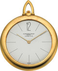 Timepieces:Pocket (post 1900), Audemars Piguet 18K Gold Ultra-Thin Pocket Watch Signed Tiffany& Co. Circa 1959. ...
