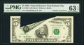 Error Notes:Printed Tears, Fr. 1985-J $5 1995 Federal Reserve Note. PMG Choice Uncirculated 63EPQ.. ...