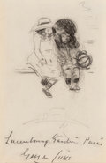 Works on Paper, George Benjamin Luks (American, 1867-1933). Two Girls with Ball and Man Smoking (double-sided work). Charcoal and pe...