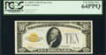 Small Size:Gold Certificates, Fr. 2400* $10 1928 Gold Certificate. PCGS Very Choice New 64PPQ.. ...