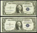Error Notes:Miscellaneous Errors, Misaligned Back Printing Error Fr. 1614 $1 1935E Silver Certificates. Two Examples. Crisp Uncirculated or Better.. ... (Total: 2 notes)