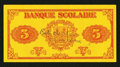 Canadian Currency: , Montreal, P.Q.- Banque Scolaire - Ecole Sacre-Coeur $5 ND (ca.1920). ...