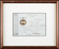Miscellaneous, Union Bank of Brunswick, Maine Stock Certificate....