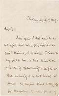 Autographs:Authors, Thomas Carlyle Autograph Letter Signed....