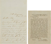 Confederate Propaganda Handbill and Letter from Union Soldier That Received It
