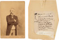 Autographs:Non-American, Georges Clémenceau Cabinet Photo Partial Manuscript, and ClippedSignature. ... (Total: 2 Items)