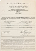 Autographs:U.S. Presidents, Harry S. Truman Signed Form Donating $1500 to the Cooperative forAmerican Remittances to Europe, Inc. ... (Total: 2 Items)