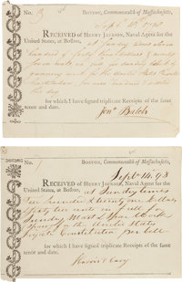 USS Constitution Sundry and Maintenance Receipts (2)