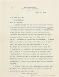 Autographs:U.S. Presidents, Theodore Roosevelt. Typed Letter Signed. ...