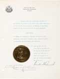 Autographs:U.S. Presidents, Franklin D. Roosevelt Appointment Signed as Governor of New York....
