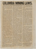 Miscellaneous:Broadside, California Gold Rush Broadside: Columbia Mining Laws. ...