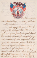 Militaria:Ephemera, Richard Winslow, a Private in the 54th Massachusetts VolunteersAutograph Letter Signed. ...