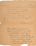 Autographs:Inventors, Thomas Edison Autograph Note (unsigned)....