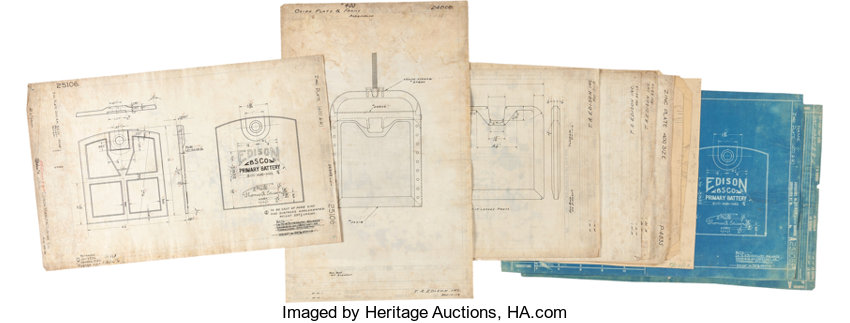 Thomas edison manufacturing company pencil drawings lot 47197 autographsinventors thomas edison manufacturing company pencil drawings schematicsand blueprints concerning the malvernweather Gallery
