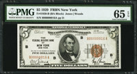 Serial Number 16 Fr. 1850-B $5 1929 Federal Reserve Bank Note. PMG Gem Uncirculated 65 EPQ