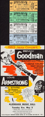 "Benny Goodman/Louis Armstrong Concert (Associated Booking Corp., 1953). Concert Herald (6"" X 9.5"") DS & Co..."