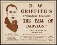 "The Fall of Babylon (David W. Griffith Corp., 1919). Title Lobby Card (11"" X 14""). Drama"