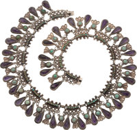 A Matilde Poulat Mexican Silver, Turquoise and Amethyst Necklace, Mexico City, circa 1950-1960 Marks: Matl, mex
