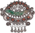 Silver Smalls, A Matilde Poulat Mexican Silver, Coral and Chinese Jadeite Brooch,Mexico City, circa 1934-1940. Marks: MATL. 2-1/2 inch...