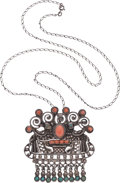 Silver Smalls, An Early Matilde Poulat Mexican Silver and Hardstone Pendant Broochwith Chain, Mexico City, circa 1934-1940. Marks: Matl,...