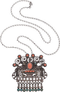 An Early Matilde Poulat Mexican Silver and Hardstone Pendant Brooch with Chain, Mexico City, circa 1934-1940 Marks