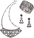Silver Smalls, A Four-Piece Margot de Taxco Mexican Enameled Silver Necklace,Bracelet and Earring Jewelry Suite, Taxco, circa 1948-1978. M...(Total: 4 Items)