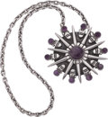 Silver Smalls, A William Spratling Mexican Silver and Amethyst Pendant Brooch withChain, Taxco, circa 1940-1946. Marks: WS, SPRATLING, M...