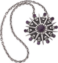 A William Spratling Mexican Silver and Amethyst Pendant Brooch with Chain, Taxco, circa 1940-1946 Marks: WS, SP