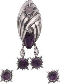 A Three-Piece Antonio Pineda Mexican Silver, Amethyst and Opal Jewelry Suite, Taxco, Mexico, circa 1948-1953 Marks