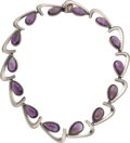 Silver & Vertu:Smalls & Jewelry, An Antonio Pineda Mexican Silver and Amethyst Boomerang Necklace, Taxco, circa 1955. Marks: (Antonio-crown), H...
