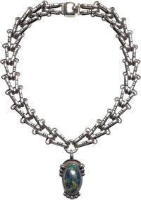 A Hector Aguilar Mexican Silver and Azurmalachite Necklace, Taxco, circa 1943-1948 Marks: HA (conjoined