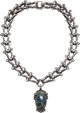 A Hector Aguilar Mexican Silver and Azurmalachite Necklace, Taxco, circa 1943-1948 Marks: HA (conjoined), STERLING, M
