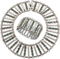 A Two-Piece Fred Davis Mexican Silver and Turquoise Jewelry Suite, Mexico City, circa 1940 Marks: FD, SILVER