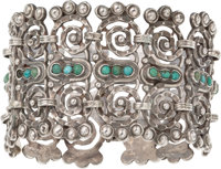 A Matilde Poulat Mexican Silver and Turquoise Bracelet, Mexico City, circa 1934-1948 Marks: MATL 7-1