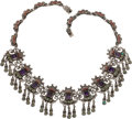 Silver & Vertu:Smalls & Jewelry, A Matilde Poulat Mexican Silver and Hardstone Necklace, Mexico City, circa 1950-1960. Marks: matl, mèxico, 925, ms-12. 1...