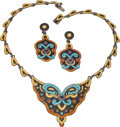 Silver Smalls, A Margot de Taxco Mexican Enameled Silver Necklace and EarringJewelry Suite, Taxco, circa 1948-1978. Marks: MARGOT DE TAX...(Total: 3 )