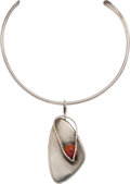 Silver Smalls, An Art Smith Modernist Silver and Carnelian Kinetic Collar, circa1940. Marks: Art Smith. 4-5/8 inches wide (11.7 cm). 1...