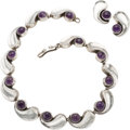 Silver & Vertu:Smalls & Jewelry, A Antonio Pineda Mexican Silver and Amethyst Necklace and Earring Jewelry Suite, Taxco, circa 1940-1945. Marks: (Antonio-cro... (Total: 3 Items)
