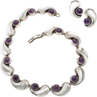 A Antonio Pineda Mexican Silver and Amethyst Necklace and Earring Jewelry Suite, Taxco, circa 1940-1945 Marks: (An