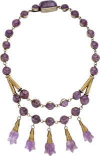 A Hector Aguilar Mexican Silver, Brass and Amethyst Necklace, Taxco, circa 1940-1945 Marks: TALLER BORDA, STERL