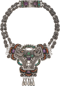 A Matilde Poulat Mexican Silver and Hardstone Necklace, Mexico City, circa 1934-1955 Marks: Matl, 0.925, HECHO