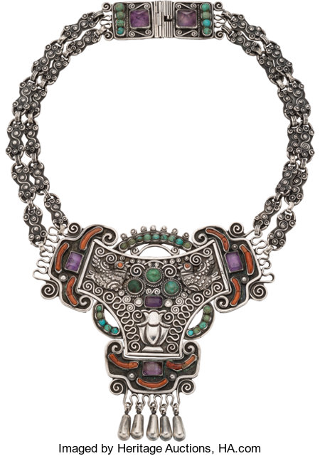 A Matilde Poulat Mexican Silver and Hardstone Necklace, Mexico City, circa 1934-1955Marks: Matl, 0.925, HECHO EN MEXICO...