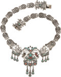 Silver & Vertu:Smalls & Jewelry, A Matilde Poulat Mexican Silver and Hardstone Necklace, Mexico City, circa 1934-19450. Marks: Matl, 0.925, HECHO EN MEXICO...