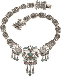 A Matilde Poulat Mexican Silver and Hardstone Necklace, Mexico City, circa 1934-19450 Marks: Matl, 0.925, HECHO
