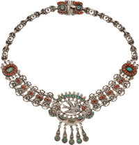 A Matilde Poulat Mexican Silver, Turquoise and Coral Necklace with Bird Motif, Mexico City, circa 1934-1950 Marks: